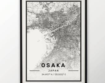 Osaksa City Map Print Modern Contemporary poster in sizes 50x70 fit for Ikea frame 19.5 x 27.5 All city available London New York Paris