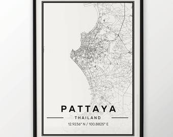 Pattaya City Map Print Modern Contemporary poster in sizes 50x70 fit for Ikea frame 19.5 x 27.5 All city available London New York Paris