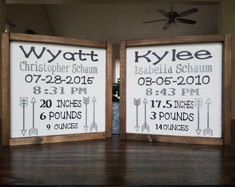 Birth Stats Farmhouse Wood Sign
