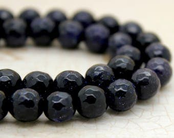 Blue GoldSand Stone Round Faceted Gemstone Beads (4mm 6mm 8mm 10mm 12mm)