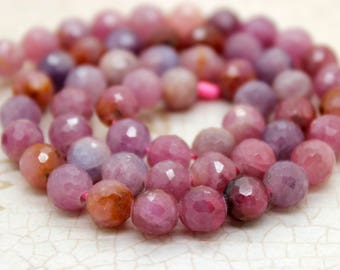 Natural Faceted Ruby Round Beads Gemstone (5mm 6mm 8mm 10mm)