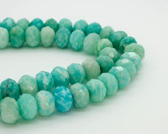 Natural Amazonite Faceted Rondelle Loose Gemstone Beads Stone (6mm x 9mm, 8mm x 10mm)