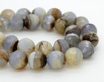 Natural Blue Lace Agate Round Faceted Ball Sphere Gemstone Loose Bead Beads 4mm 6mm 8mm 10mm