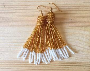Handmade Gold and White Seed Bead Tassel Drop Earrings