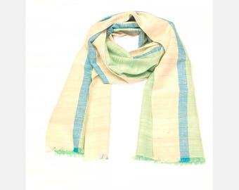 Eri Silk Cotton Scarf- Turquoise
