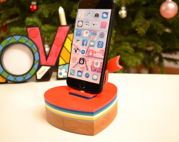 iphone charging station docking station stand, IDOQQ UNO heart Rainbow Wood Station, iphone 5, 6, 7, 8 ipad stand Valentine's Gift phone stand