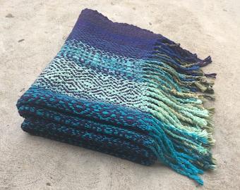 Woven Blanket Wool Silk Cotton Linen Bamboo Rayon Bohemian Diamond pattern Boho Handwoven Wrap Shawl