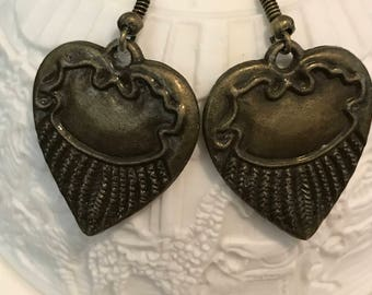 Vintage Heart Wings Earrings