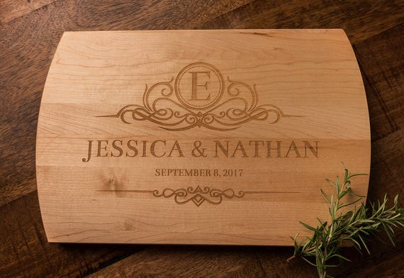 Personalized Wedding Gift, Wood Cutting Board, Monogrammed, Engagement Gift, Anniversary Gift, Gift for Parents, Gift for Couple, Engraved