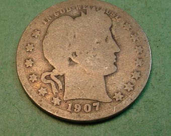 1907-O Barber Quarter The Coin you see is the Coin You get <> # ET1077