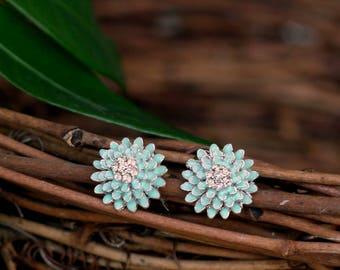 Intricate Spring Blossom Flower Stud Enamel and Crystal Stud Earrings - Blue/White
