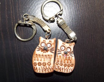 Couples Keychain Set polymer clay cats