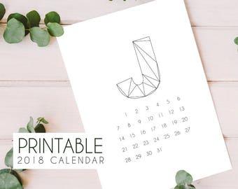 2018 printable minimalist calendar