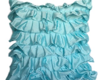 Aqua Blue Pillow Cover, Minimalist Pillow, Ruffles Pillow, Modern Pillow Covers