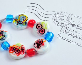 White-blue-red flat beads