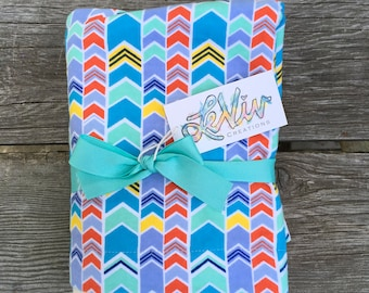Colorful chevron flannel baby or child blanket, stroller blanket,  soft cuddly blanket, baby or child gift, gender neutral baby