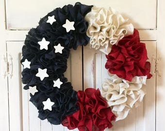 Patriotic Wreath, Burlap Wreath, Ruffle Wreath,American Flag, Red White and Blue, July 4th, Stars and Stripes, Country Wreath