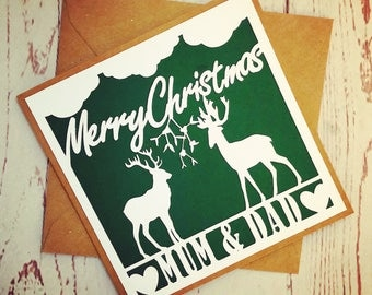 Personalised reindeers christmas card, mum and dad or names of your choice, paper cut, festive design, handmade card, greetings card.