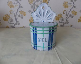 vintage French Enamelware 'SEL' box