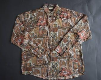 Vintage Abstract Print Silk Shirt