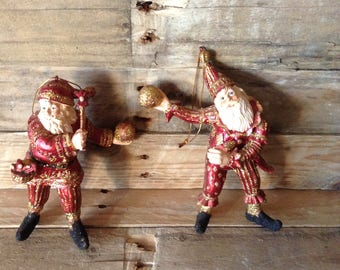 Vintage, Father Christmas, Hanging Decorations, 1980's, Set of 2, Glitter, Jester Costume