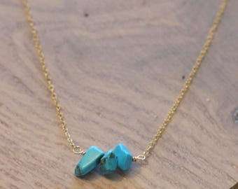 Triple Turquise Chunk Necklace