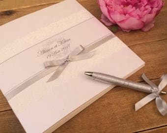 Wedding guestbook lace chic with matching pen