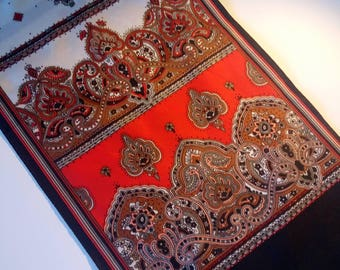 Vintage Italian red and white ornament Scarf