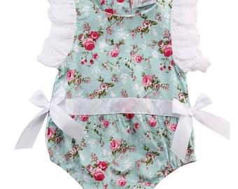 Floral baby girl top, shorts,floral romper, Romper, baby romper, vintage inspired romper