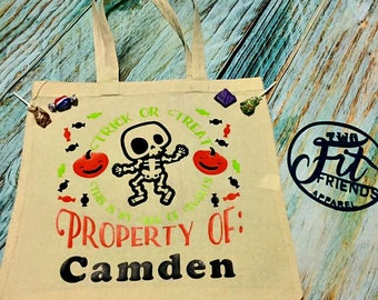 Personalized Trick or Treat This is My Bag of Treats Skeleton Canvas Tote Halloween Candy Bag Sack