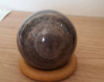 Wonderful 60mm Black Moonstone Sphere from Madagascar the womb stone
