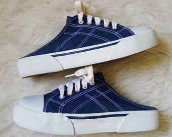 Vintage 90s platform slip on denim sneakers size 9