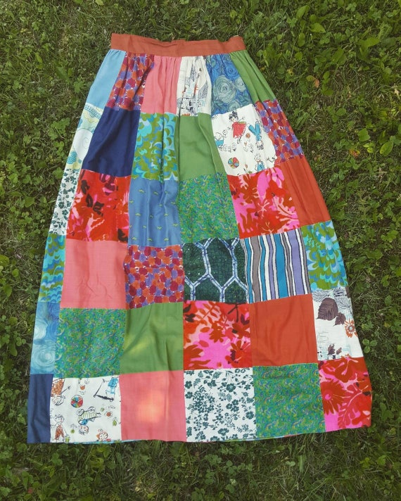 Vintage 60s/70s crazy quilt maxi skirt. True hippie skirt size small