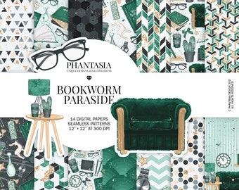 Bookworm Digital Paper Pack, Book Lover Digital Paper, Library Texture, Books, Designer Paper Pack, Bottle Green Scrapbooking Paper