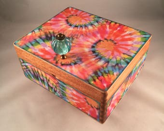 Altered Cigar Box, Keepsake Box, Jewelry Box, Treasure Box,  Trinket, Gift, Tie-dye, Blue, Pink, Orange
