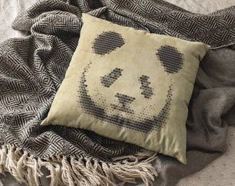 Pixel Panda Decorative Pixel Art Throw Pillow Housewarming Animal Pillow Gift Rustic Home Decor Animal Pillow Witty Novelty