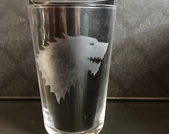 Game OF Thrones House Stark Glass Tumbler
