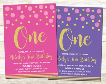 Pink and Gold 1st Birthday Invitation - Purple and Gold 1st Birthday Party - Pink and Gold 1st Birthday Party - Polka Dot Party Invite