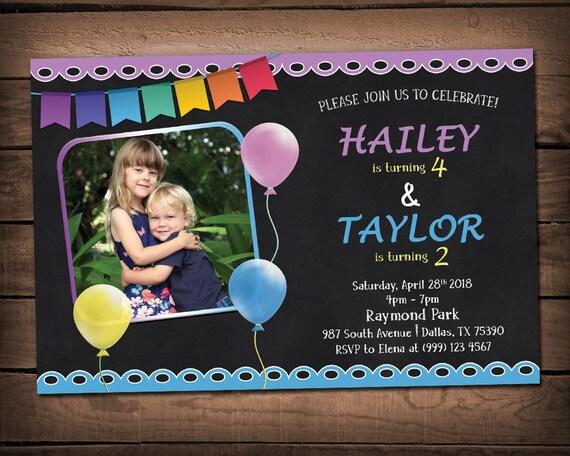 Sibling birthday invitation double birthday party invitation il570xn filmwisefo
