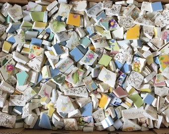 Vintage Broken China Mosaic Tiles Lot Small Hand Cut Filler Over 2 Pounds