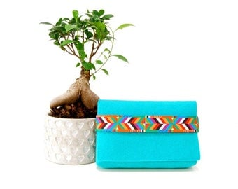 Turquoise clutch, Boho style clutch, Gift for her, Felt clutch,  Vegan clutch, Ethnic style clutch, Gift for women, Turquoise clutch, Blue