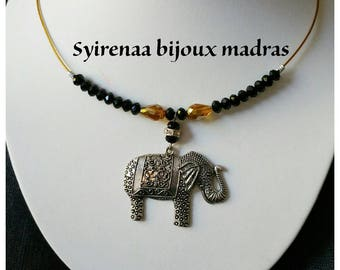 Large metal elephant silver necklace