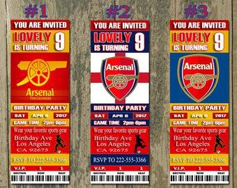 Arsenal Fc Birthday Invitation, Soccer, Ticket Invitation, Sport,Birthday, Digital, Invite Printable 300 dpi JPG