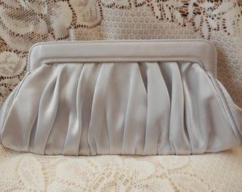 Vintage Satin Clutch, Satin Evening Bag, Satin Handbag, Small Clutch, Pleated Evening Clutch, Pleated Handbag,