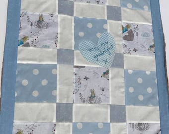 baby blanket, crib blanket, Peter Rabbit baby blanket, patchwork blanket, free shipping