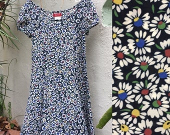 Vintage 90s Esprit Navy and Multicolor Floral Print Daisy Summer Dress, Size XS