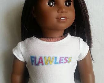 FLAWLESS Graphic Tee for 18 inch dolls such as American Girl Dolls and My Life as Dolls