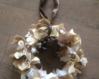 Burlap and fabric with paper wreath