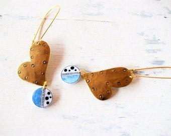 Heart Earrings, Brass Metal , medium length earrings, Gold and Blue