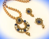 Blue Gold Pearl set | Anniversary Gifts | Gifts for her | Beaded Antique Meenakari Necklace | Traditional Jewelry